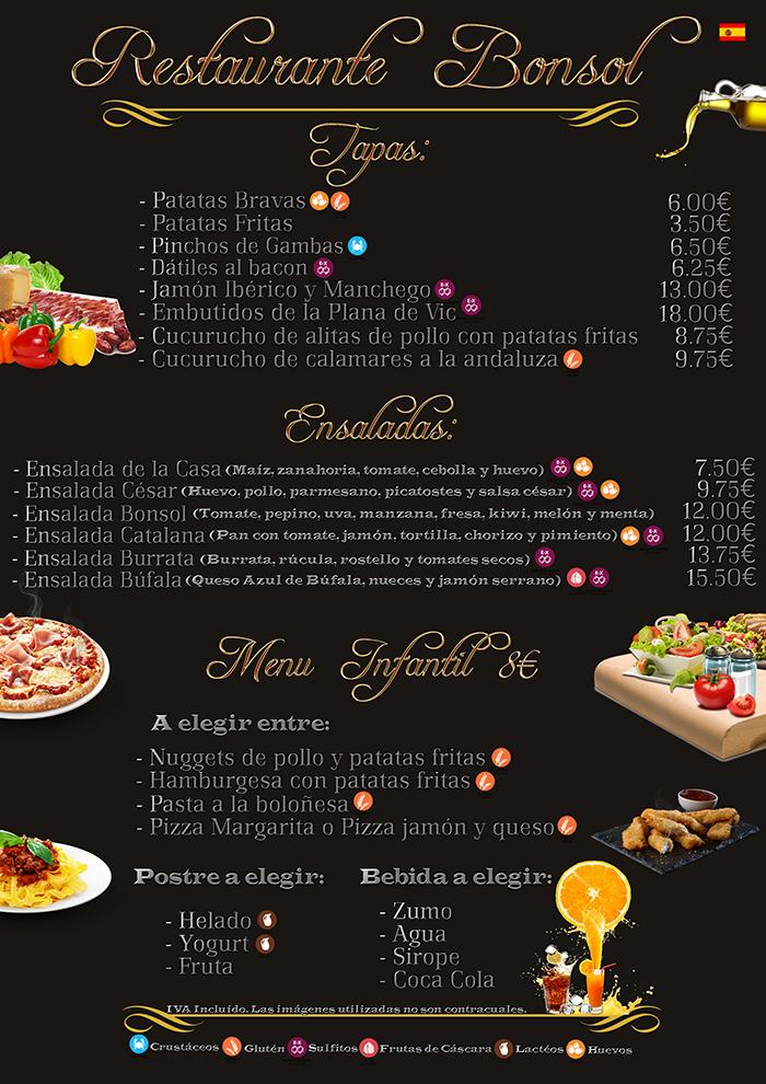 Bonsol Hotel - Restaurante - Menus - Carta - Lloret - Costa Brava